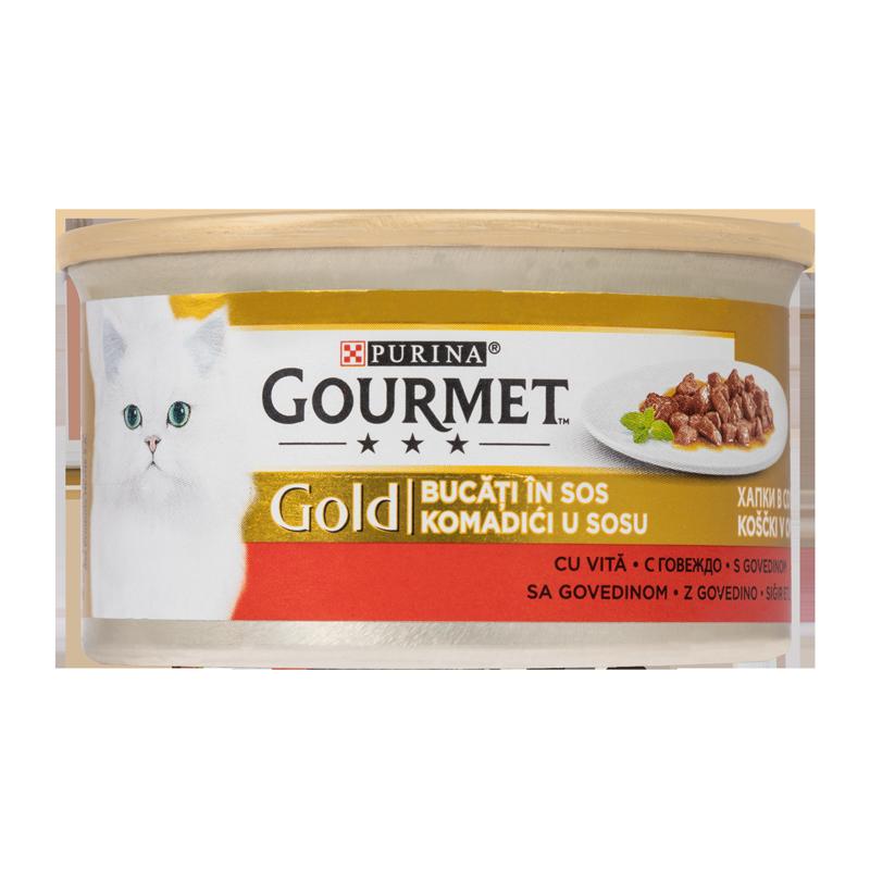 عکس بسته بندی کنسرو غذای گربه گورمت مدل Gold Beef وزن ۸۵ گرم