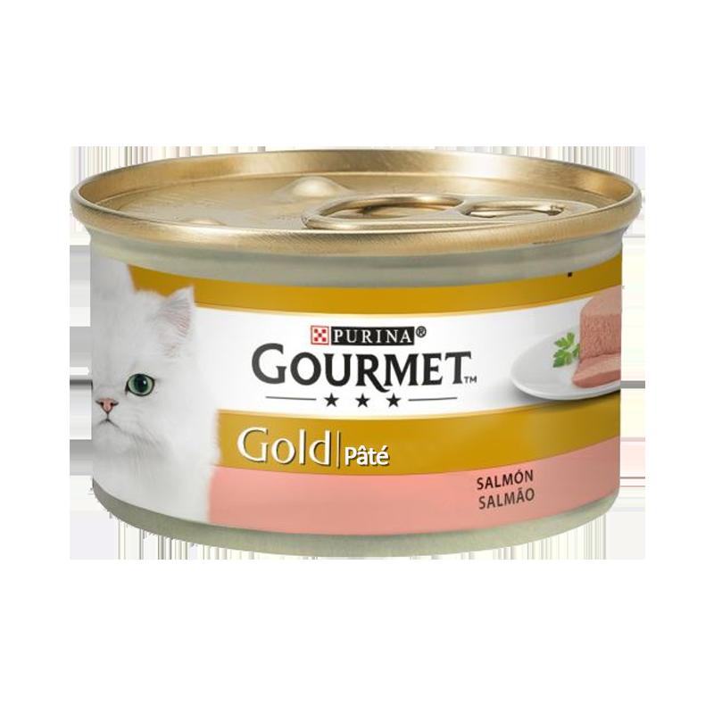عکس بسته بندی کنسرو غذای گربه گورمت مدل Gold Salmon وزن ۸۵ گرم