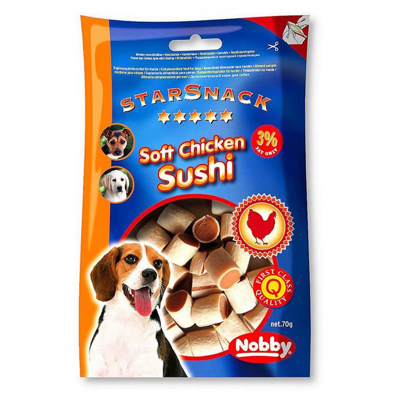عکس بسته بندی تشويقی سگ نرم نوبی مدل Soft Chicken Sushi وزن 70 گرم