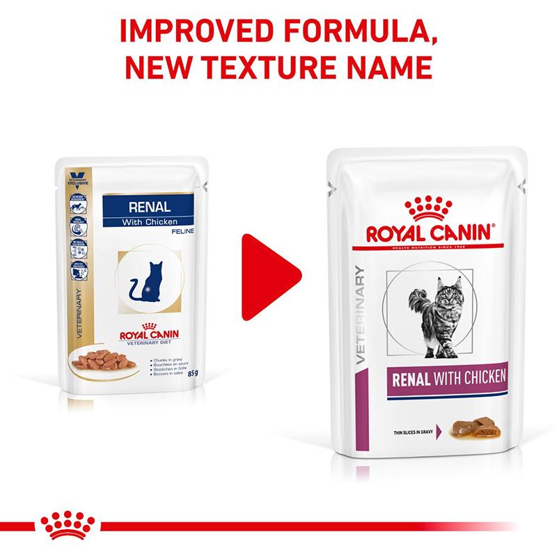عکس تغییر بسته بندی بسته غذای خشک و تر گربه رویال کنین مدل Renal