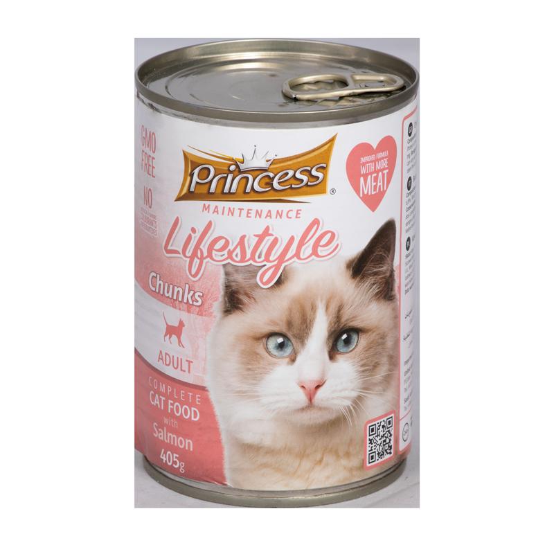 عکس بسته بندی کنسرو غذای گربه پرینسس مدل LifeStyle Salmon وزن ۴۰۵ گرم