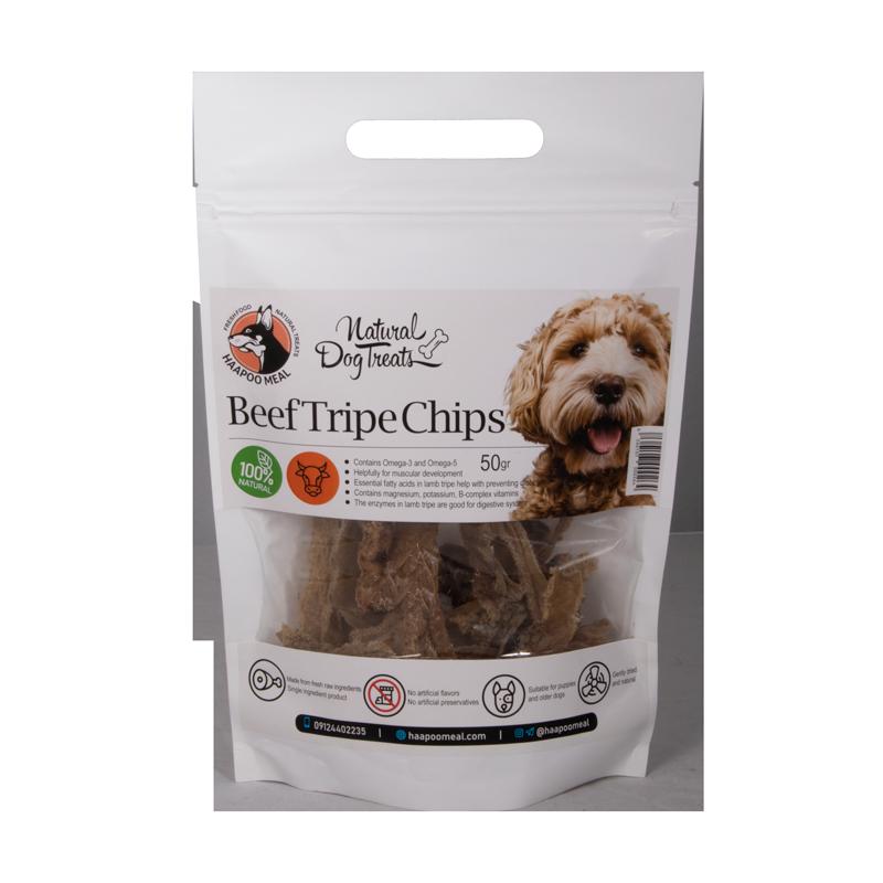 عکس روی بسته بندی تشویقی سگ هاپومیل مدل Beef Tripe Chips وزن 50 گرم