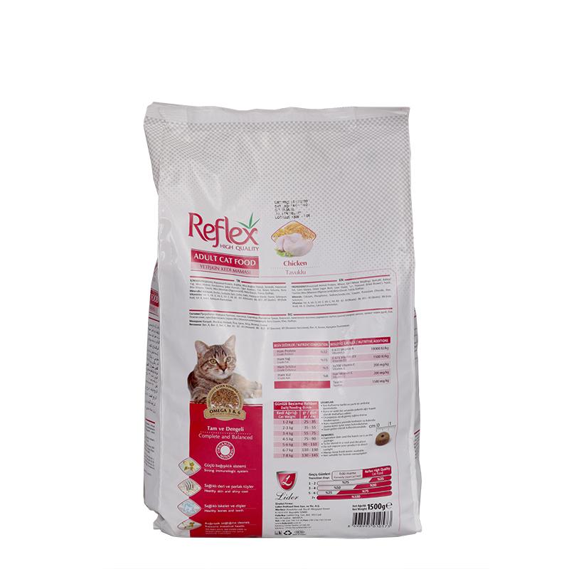 عکس پشت بسته بندیغذای خشک گربه رفلکس مدل Chicken وزن 1.5 کیلوگرم