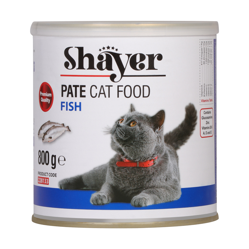 عکس بسته بندی کنسرو غذای گربه شایر مدل Fish وزن 800 گرم