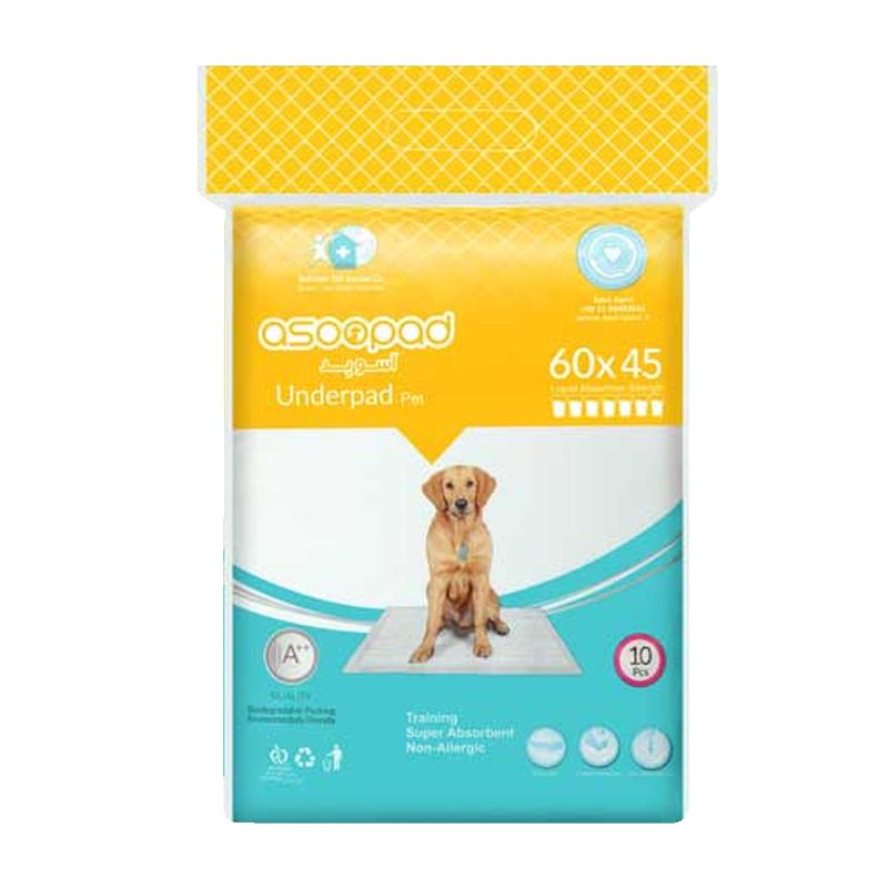 عکس بسته بندی پد زیرانداز بهداشتی سگ و گربه آسوپد 60*45 بسته 10 عددی