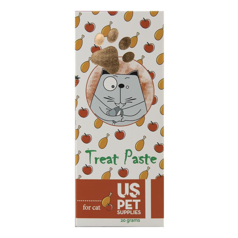 عکس بسته بندی بستنی گربه یو اس پت مدل Chicken & Apple بسته 10 عددی