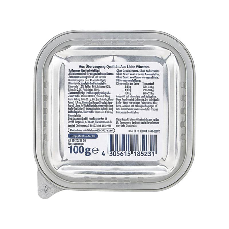 عکس پشت بسته بندی غذای کاسهای گربه وینستون مدل White Fish وزن 100 گرم