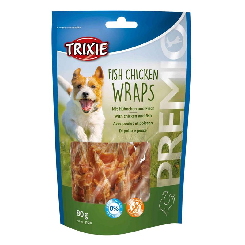 عکس بسته بندی تشویقی سگ تریکسی مدل Fish Chicken Wraps با طعم مرغ و ماهی وزن 100 گرم