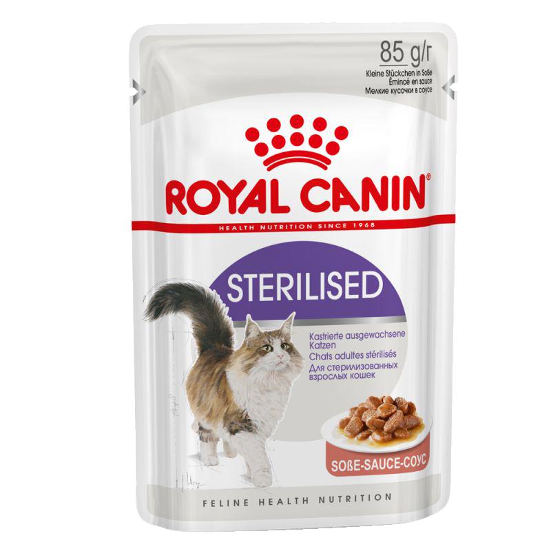 عکس بسته بندی پوچ بسته غذای خشک و تر گربه رویال کنین مدل Sterilised