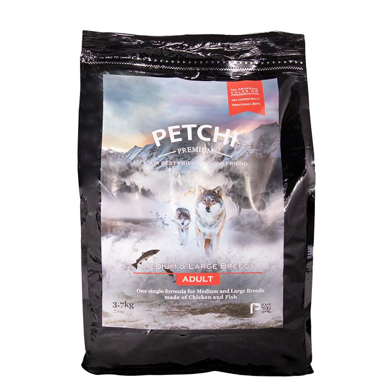 عکس بسته بندی غذای خشک پرمیوم سگ پتچی مدل Adult Medium & Large وزن 3.7 کیلوگرم