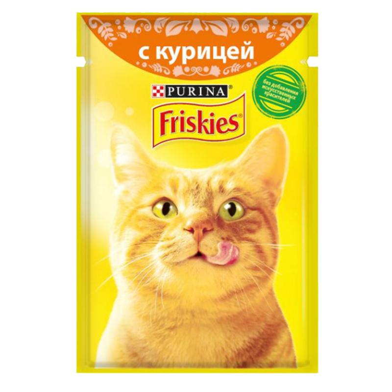 عکس بسته بندیپوچ گربه فریسکیز مدل Chicken وزن 85 گرم