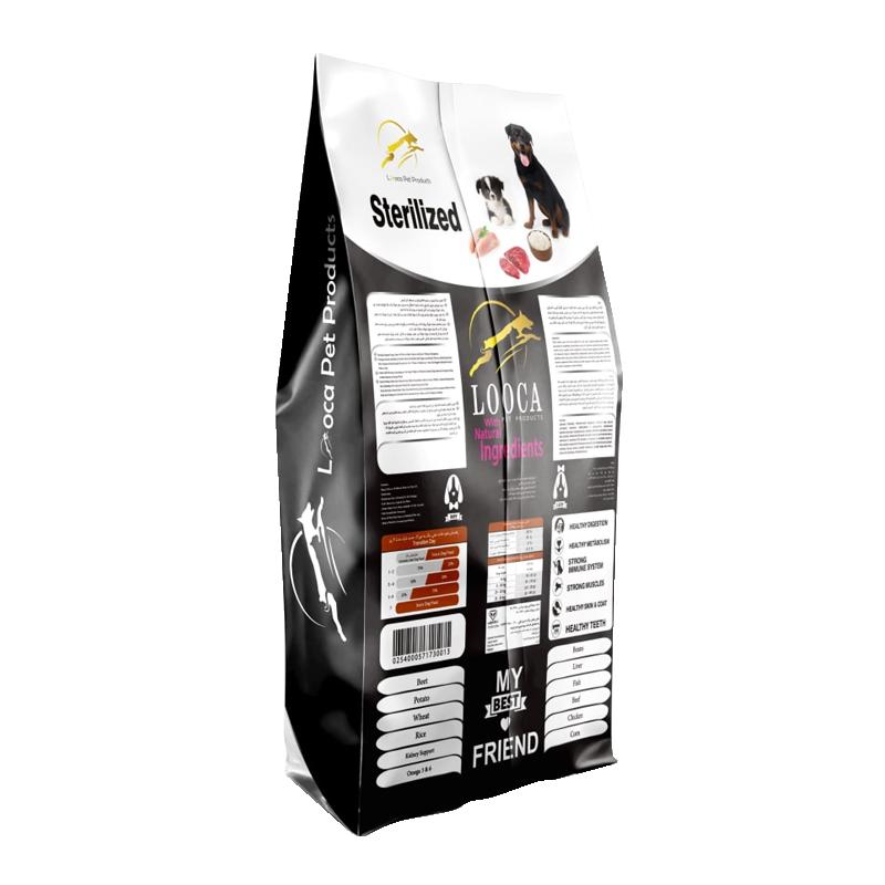 عکس پشت بسته بندی غذای خشک سگ لوکا مدل Sterilized وزن 2 کیلوگرم