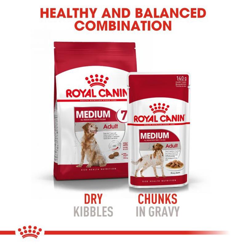 عکس دوم بسته بندی غذای خشک و تر بسته غذای خشک و تر سگ رویال کنین مدل Medium Adult