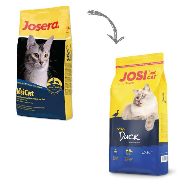 عکس تغییرات بسته بندی غذای خشک گربه جوسرا مدل Josicat duck Fish وزن 10 کیلوگرم