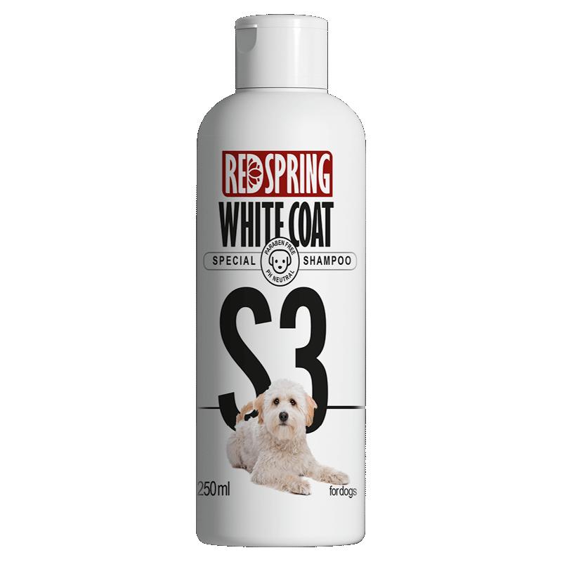شامپو سگ رداسپرینگ مدل S3 مخصوص موهای سفید و روشن حجم 250 میلی لیتر