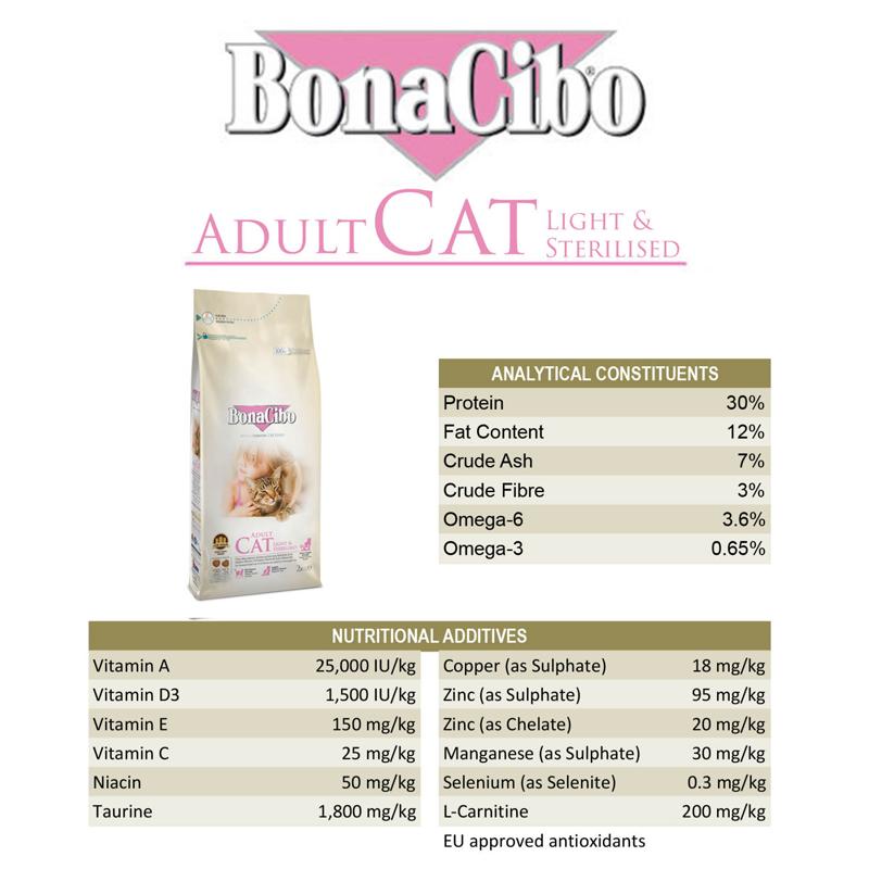 عکس اطلاعات غذای خشک گربه بوناسیبو مدل Adult Light & Sterilised وزن 2 کیلوگرم