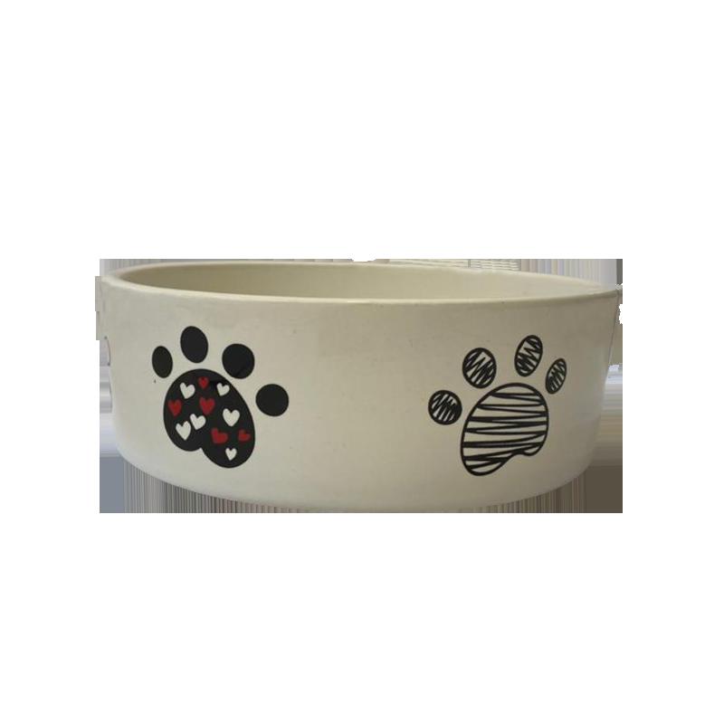 عکس از جلو ظرف آب و غذای حیوانات کوکو پت طرح پنجه سایز متوسط سفید