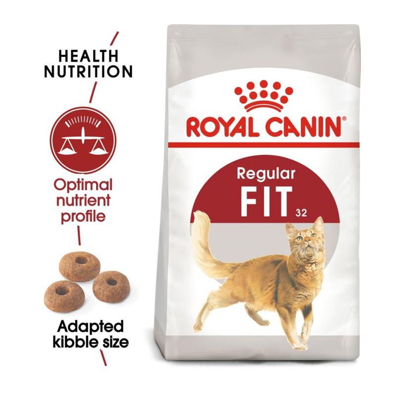 عکس جزییات بسته بندی غذای خشک گربه رویال کنین مدل Regular Fit 32 وزن 400 گرم