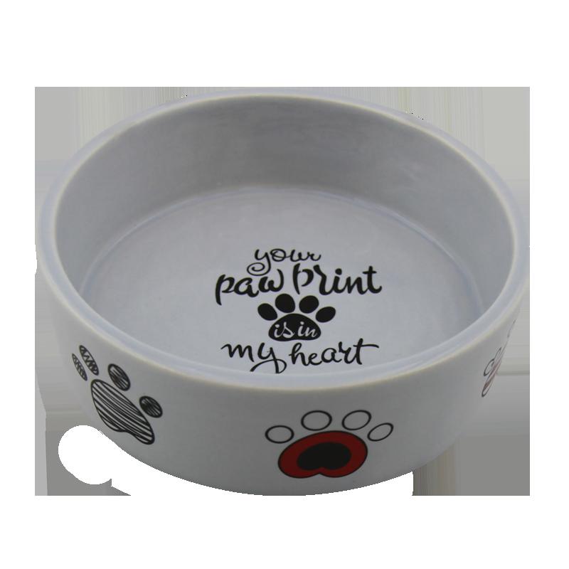 عکس از پهلو ظرف آب و غذای حیوانات کوکو پت طرح پنجه سایز کوچک سفید