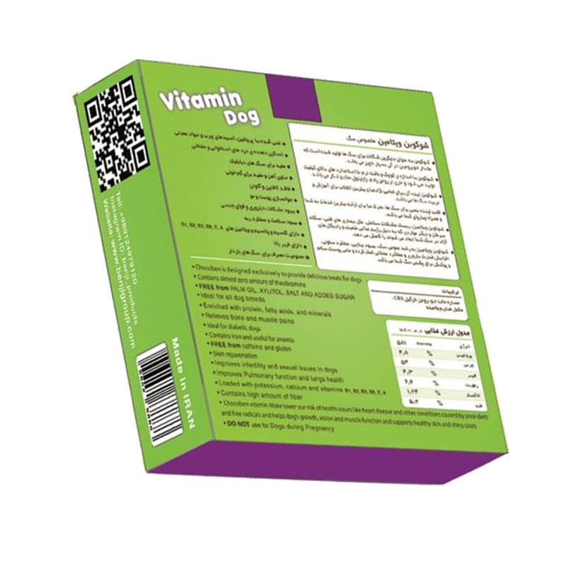 عکس پشت بسته بندی تشویقی سگ بنجی مدل ChocoBen Vitamin بسته 50 عددی