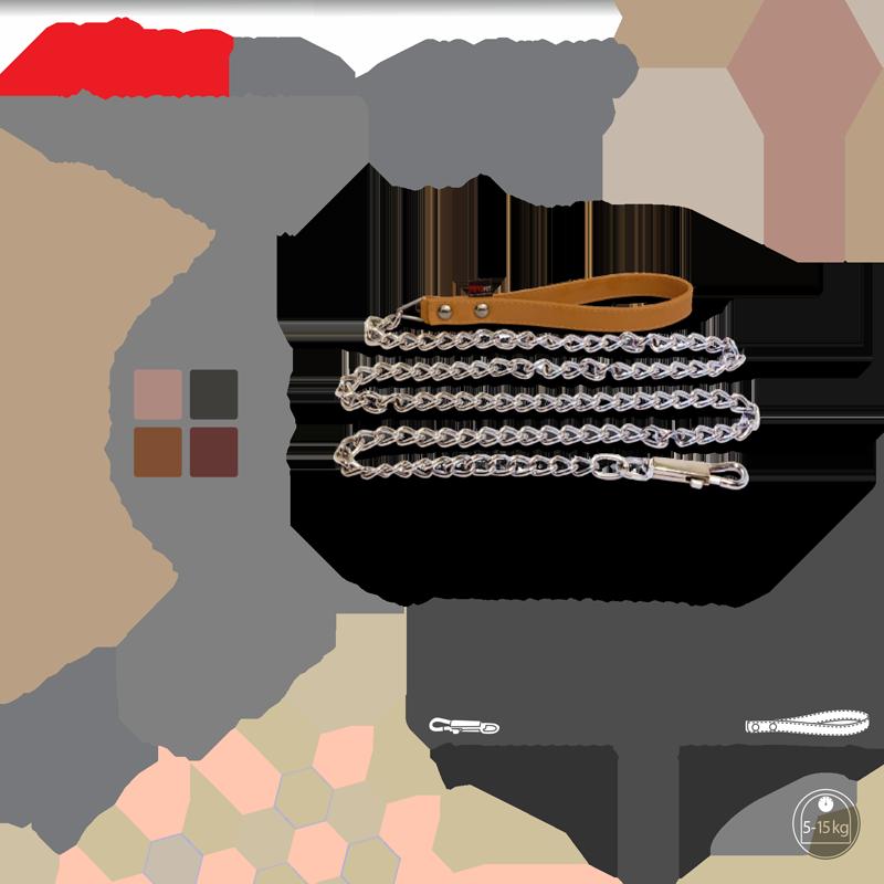 عکس رنگبندی لید سگ نیناپت مدل زنجیر دسته چرم سایز 1