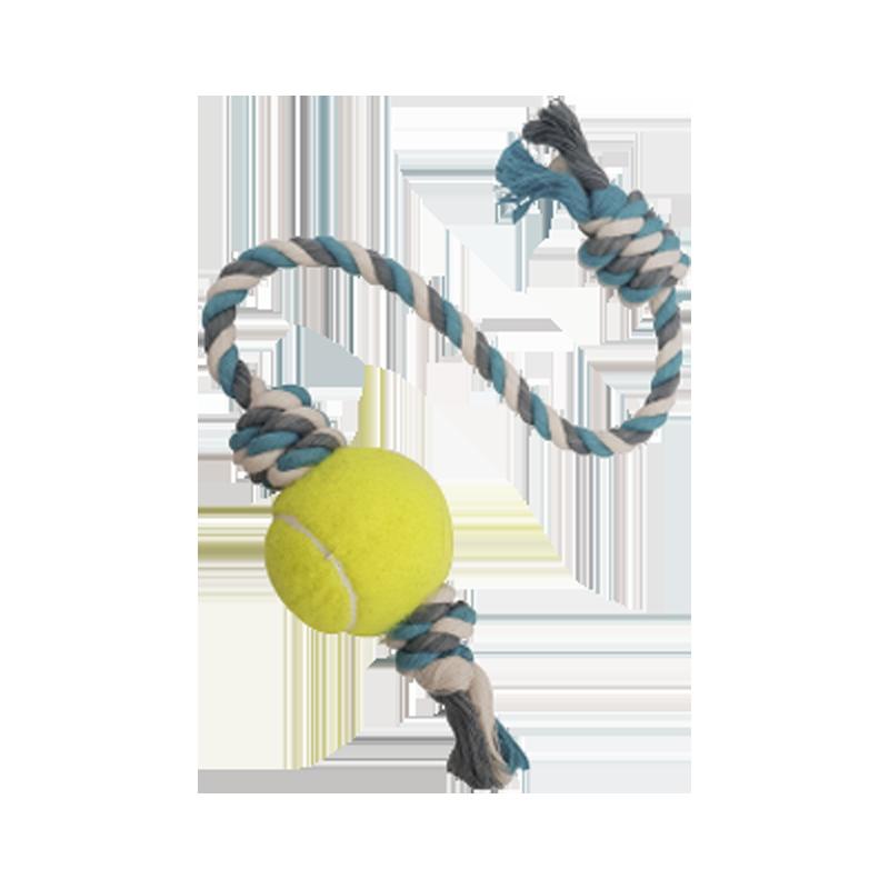 اسباب بازی سگ مدل توپ و طناب C رنگ سفید طوسی آبی