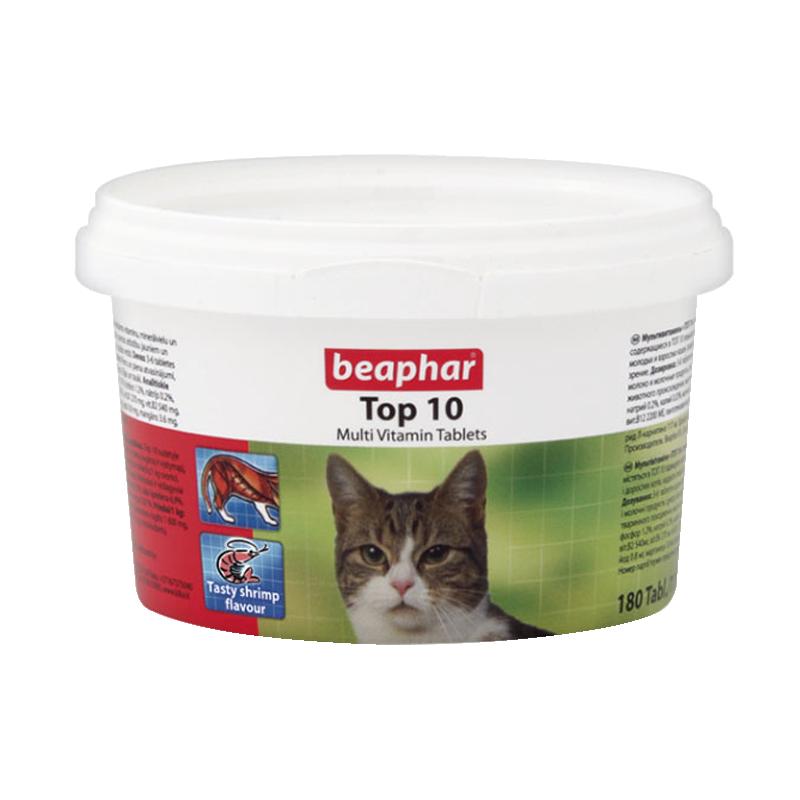 عکس بسته بندی اول قرص مولتی ویتامین گربه بیفار مدل Top 10 بسته 10 عددی