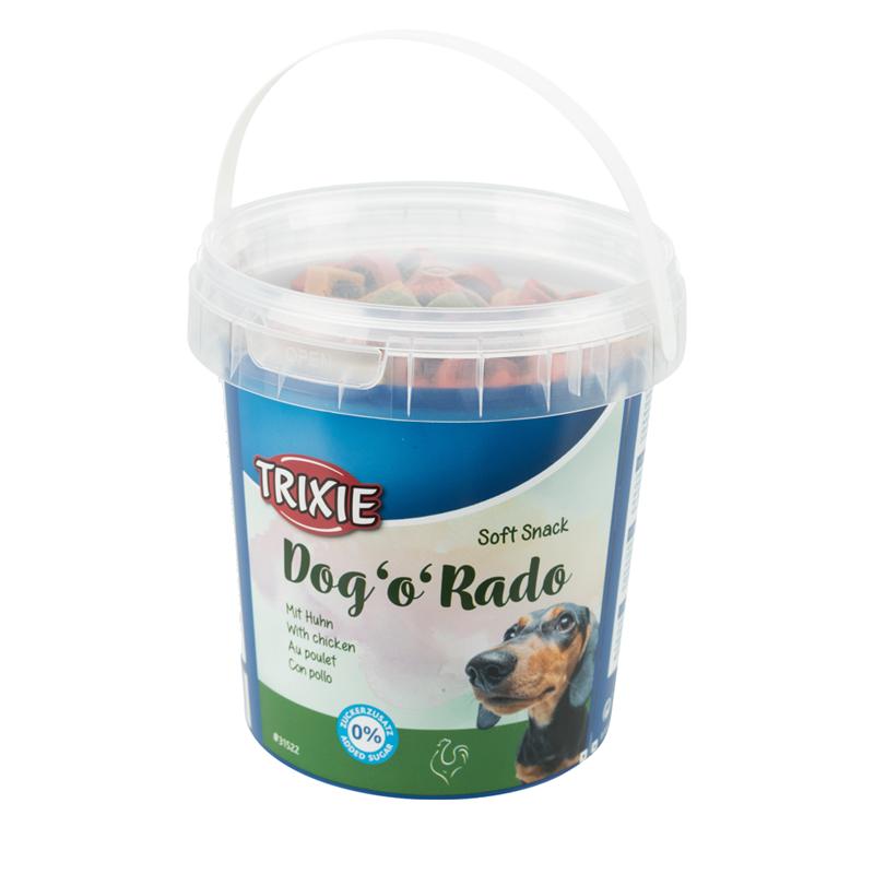 عکس بسته بندی تشویقی سگ تریکسی مدل Dog o Rado با طعم گوشت پرندگان وزن 500 گرم