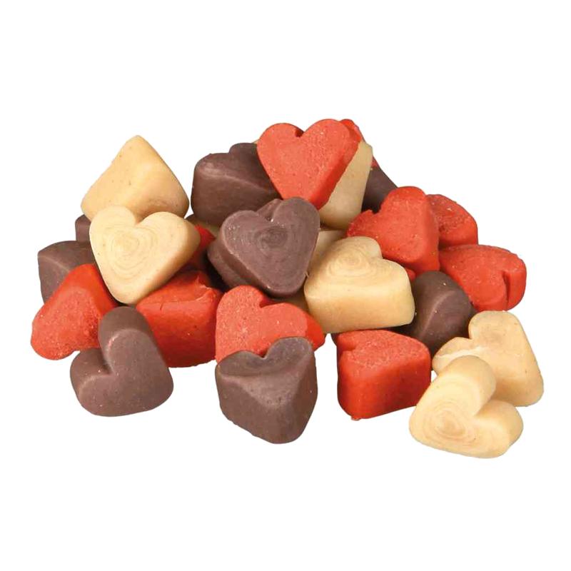 عکس دانه تشویقی سگ تریکسی مدل Mini Hearts با طعم مخلوط وزن 200 گرم