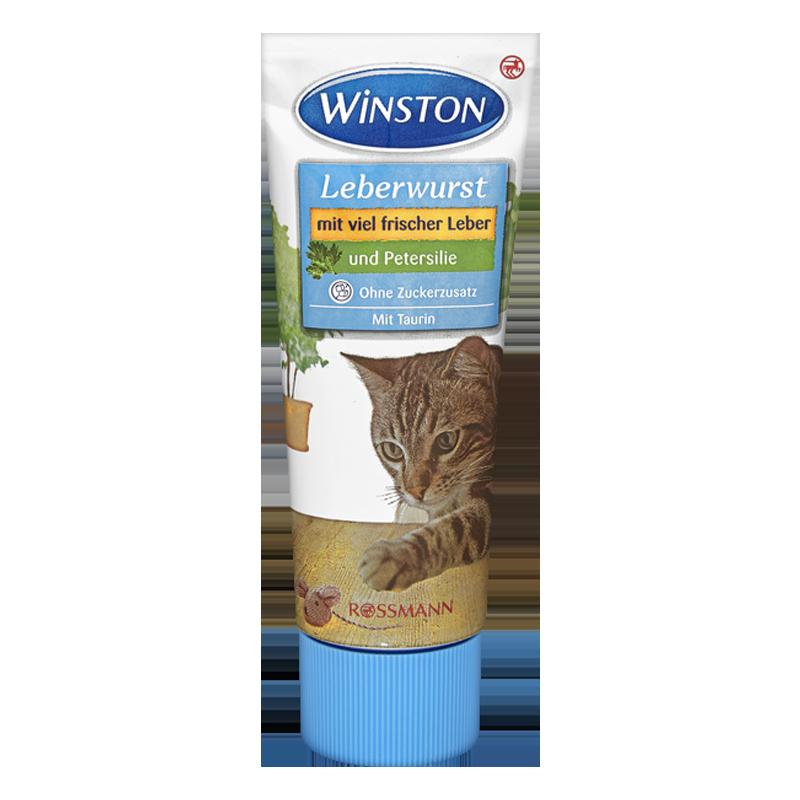 عکس بسته بندی تشویقی گربه وینستون مدل Liver Sausage & Parsley Cream وزن 75 گرم
