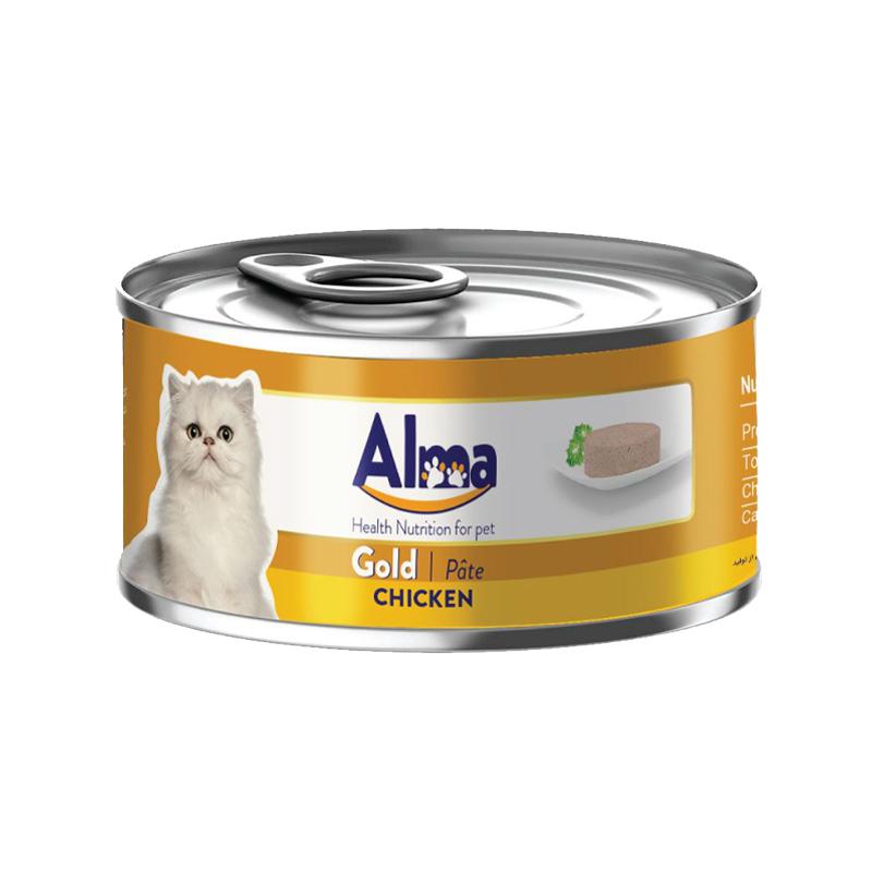 عکسبسته ندی کنسرو غذای گربه آلما مدل Gold Chicken وزن 120 گرم