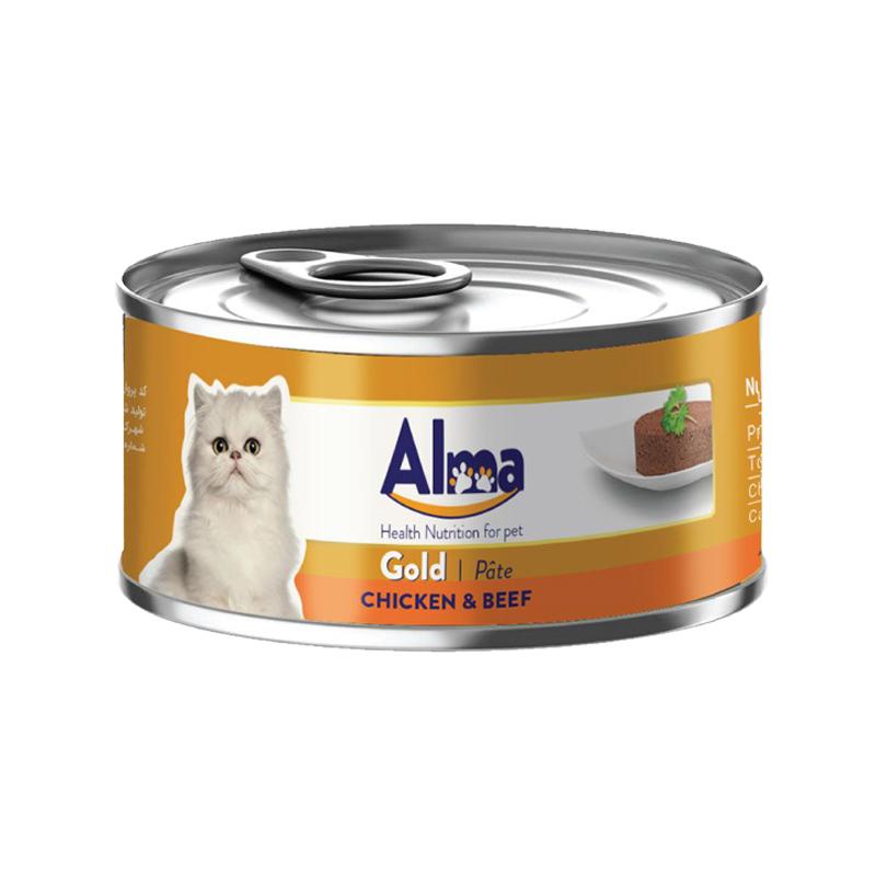 عکس بسته بندی کنسرو غذای گربه آلما مدل Gold Chicken & Beef وزن 120 گرم