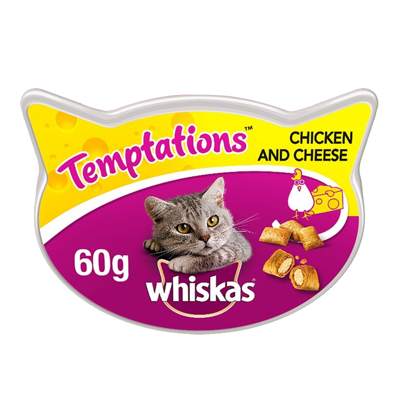 عکس بسته بندی اول تشویقی گربه ویسکاس مدل Temptation Chicken & Cheese وزن 60 گرم