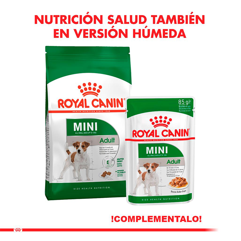 عکس دوم بسته بندی غذای خشک و تر بسته غذای خشک و تر سگ رویال کنین مدل Mini Adult