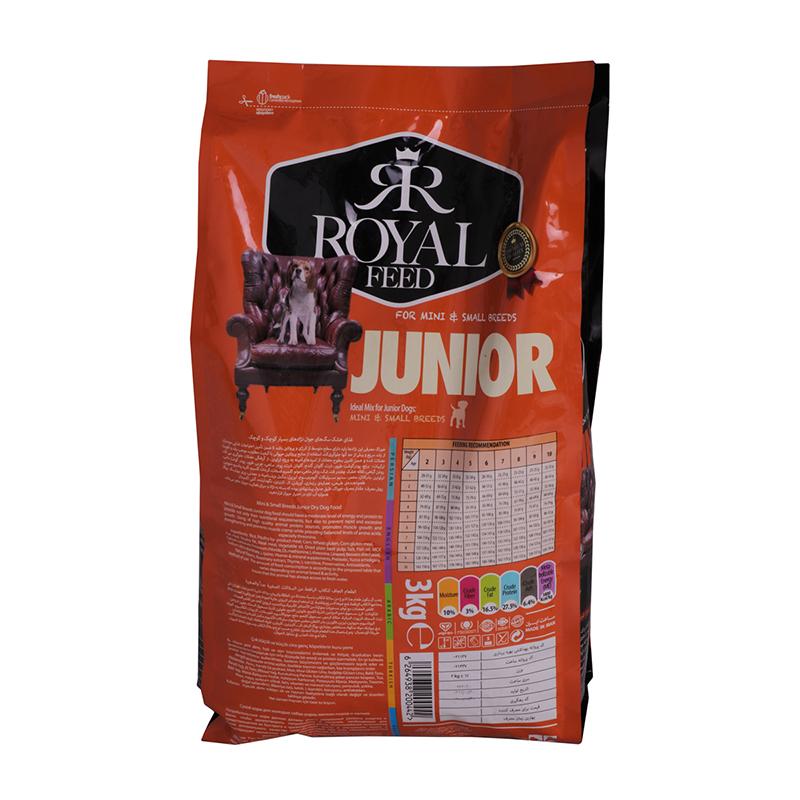 عکس پشت بسته بندی غذای خشک سگ رویال فید مدل Mini & Small Juniors وزن 3 کیلوگرم