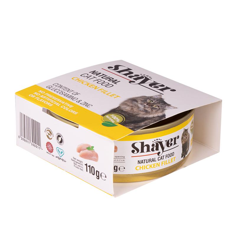 عکس بسته بندی کنسرو غذای گربه شایر مدل Chicken Filet وزن 110 گرم