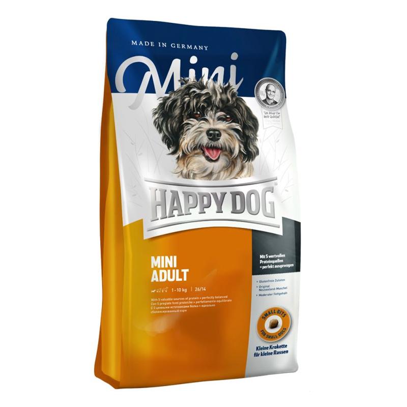 عکس بسته بندی غذای خشک سگ هپی داگ مدل Mini Adult وزن 1 کیلوگرم