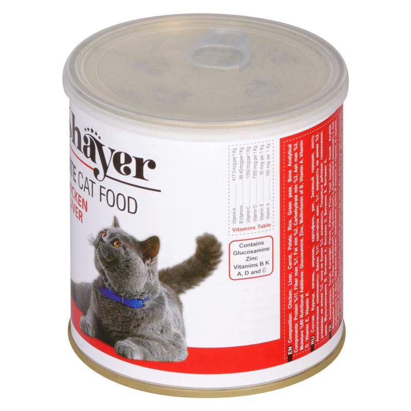 عکس بسته بندی تبلیغاتی کنسرو غذای گربه شایر مدل Chicken & Liver وزن 800 گرم
