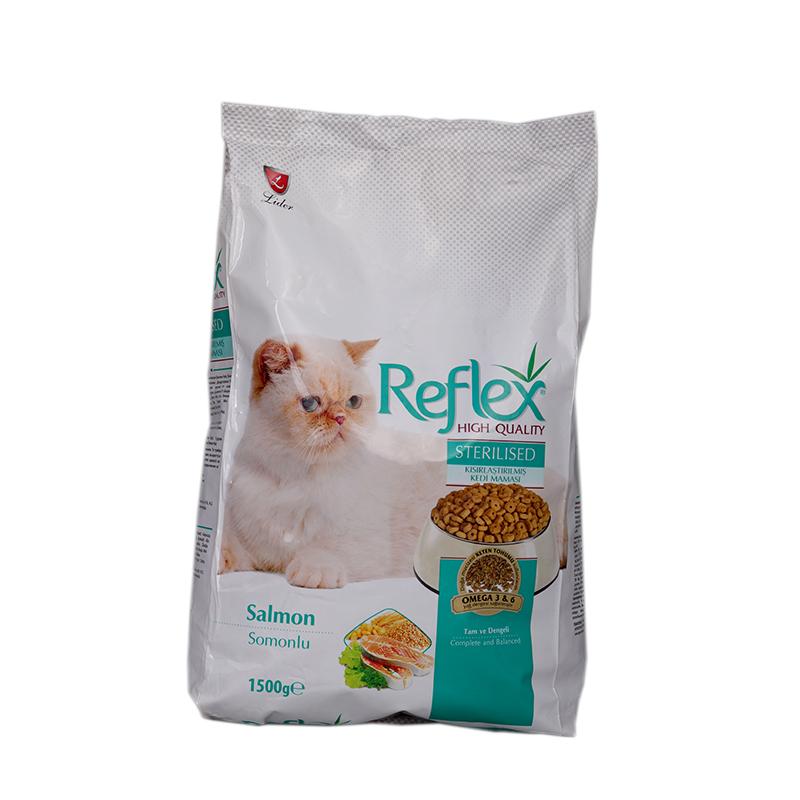 عکس بسته بندی غذای خشک گربه رفلکس مدل Salmon Sterilised وزن 1.5 کیلوگرم