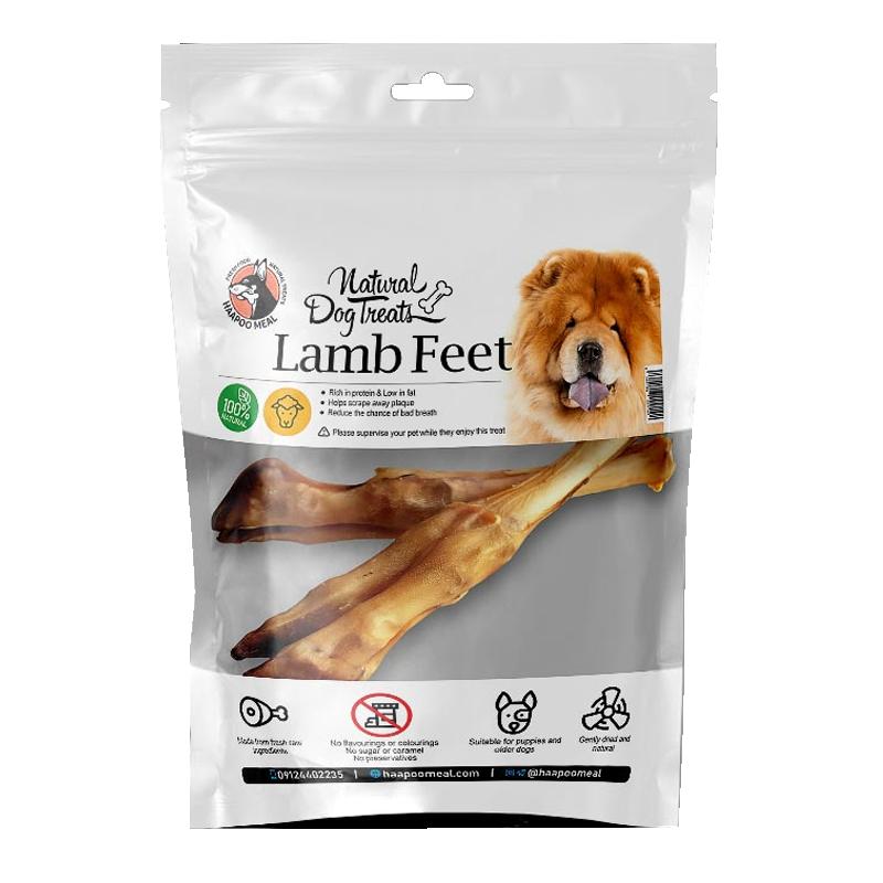 عکس بسته بندی تشویقی سگ هاپومیل مدل Lamb Feet وزن 150 گرم