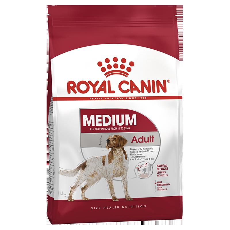 عکس بسته بندی غذای خشک بسته غذای خشک و تر سگ رویال کنین مدل Medium Adult