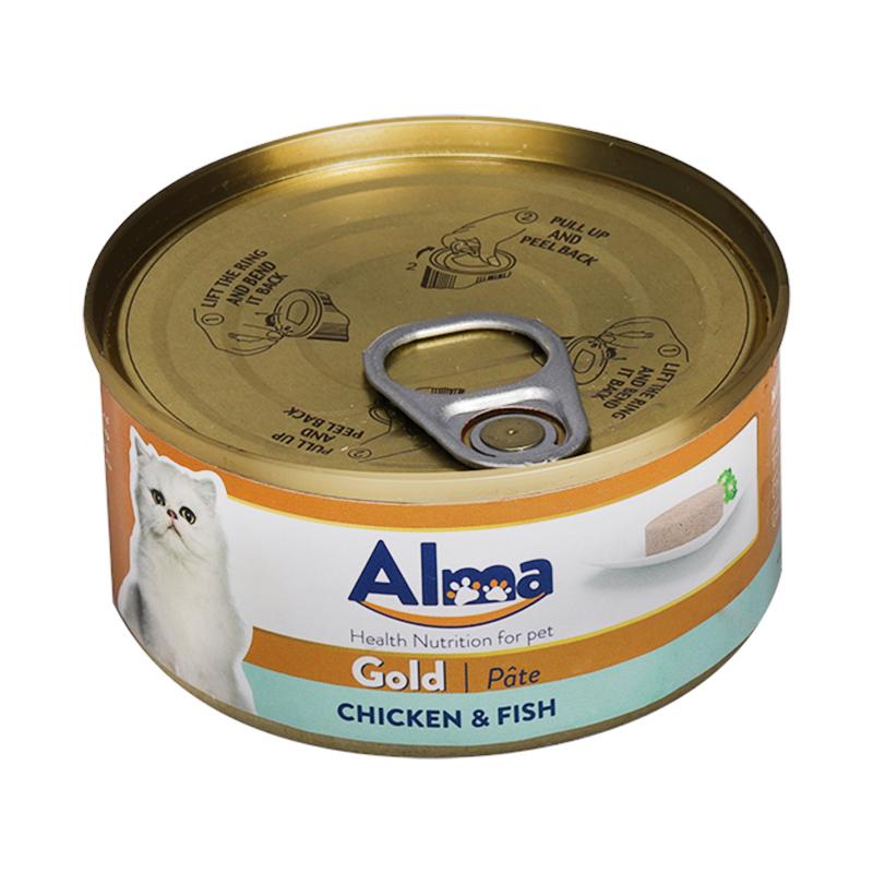 عکس کامل کنسرو غذای گربه آلما مدل Gold Chicken & Fish وزن 120 گرم