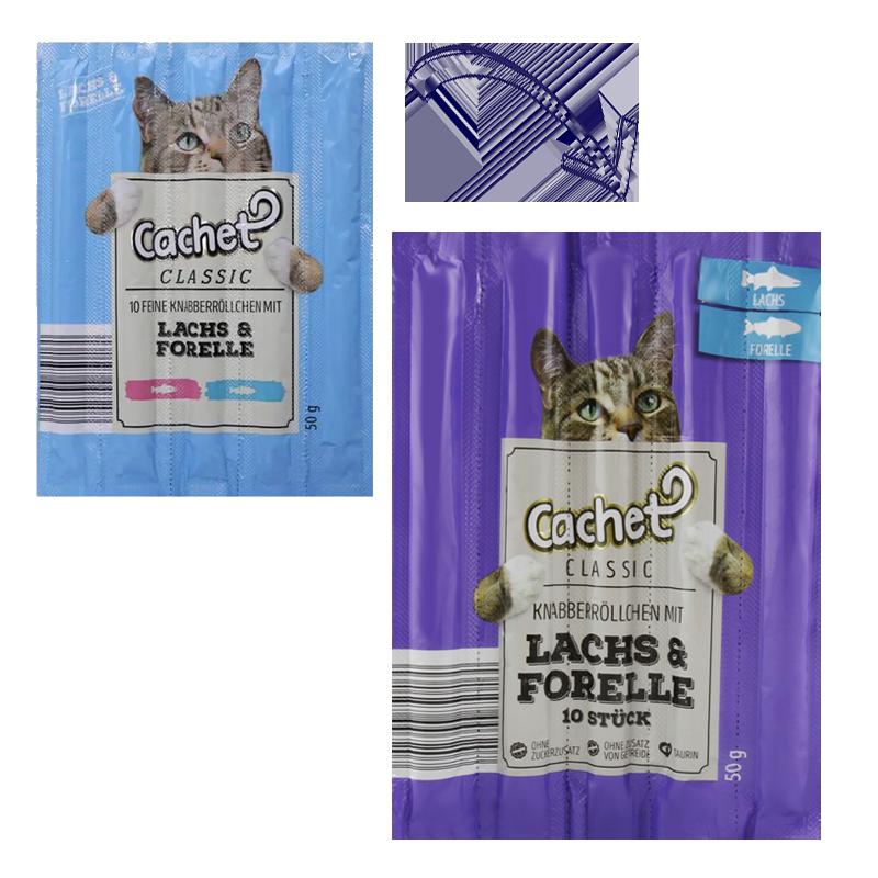 عکس تغییرات بسته بندی اسنک تشویقی گربه کچت مدل Salmon & Trout بسته 5 عددی