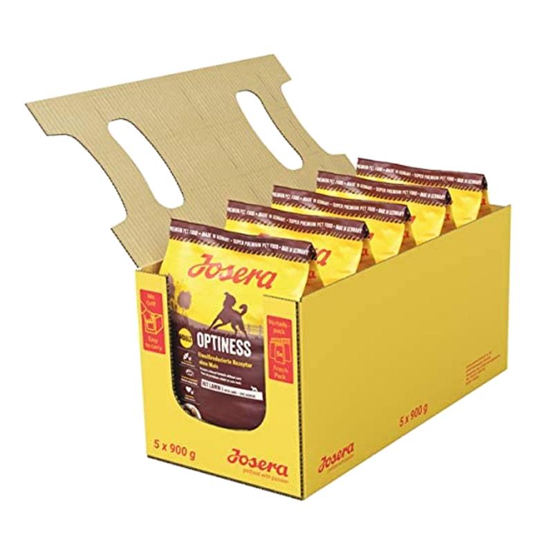 عکس بسته بندی 5عددی غذای خشک سگ جوسرا مدل Optiness وزن 900 گرم بسته 5 عددی
