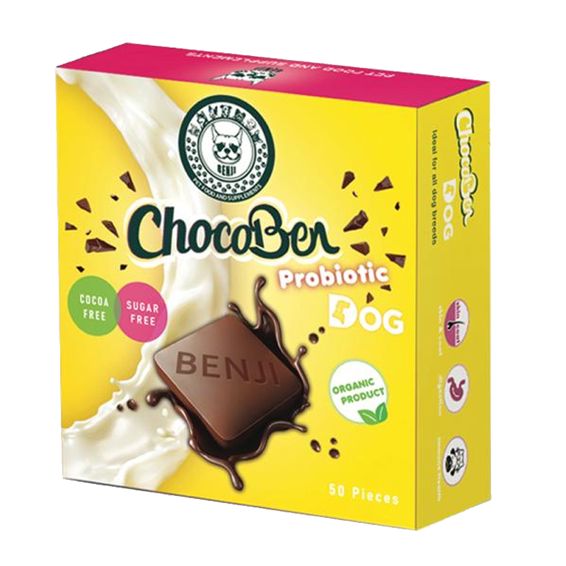 عکس روی بسته بندی تشویقی سگ بنجی مدل ChocoBen Probiotic بسته 50 عددی