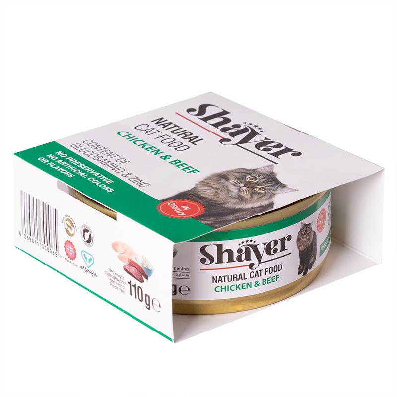 عکس بسته بندی کنسرو غذای گربه شایر مدل Chicken & Beef وزن 110 گرم